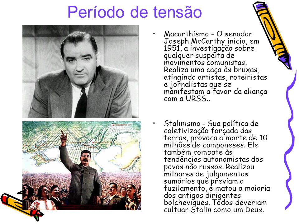 Período de tensão Macarthismo – O senador Joseph McCarthy inicia, em 1951, a investigação sobre qualquer suspeita de movimentos comunistas. Realiza um