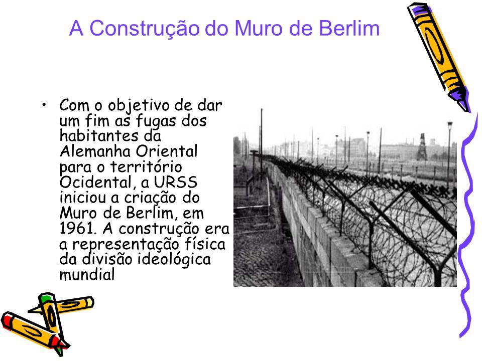 A Construção do Muro de Berlim Com o objetivo de dar um fim as fugas dos habitantes da Alemanha Oriental para o território Ocidental, a URSS iniciou a