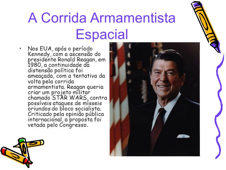 A Corrida Armamentista Espacial Nos EUA, após o período Kennedy, com a ascensão do presidente Ronald Reagan, em 1980, a continuidade da distensão polí