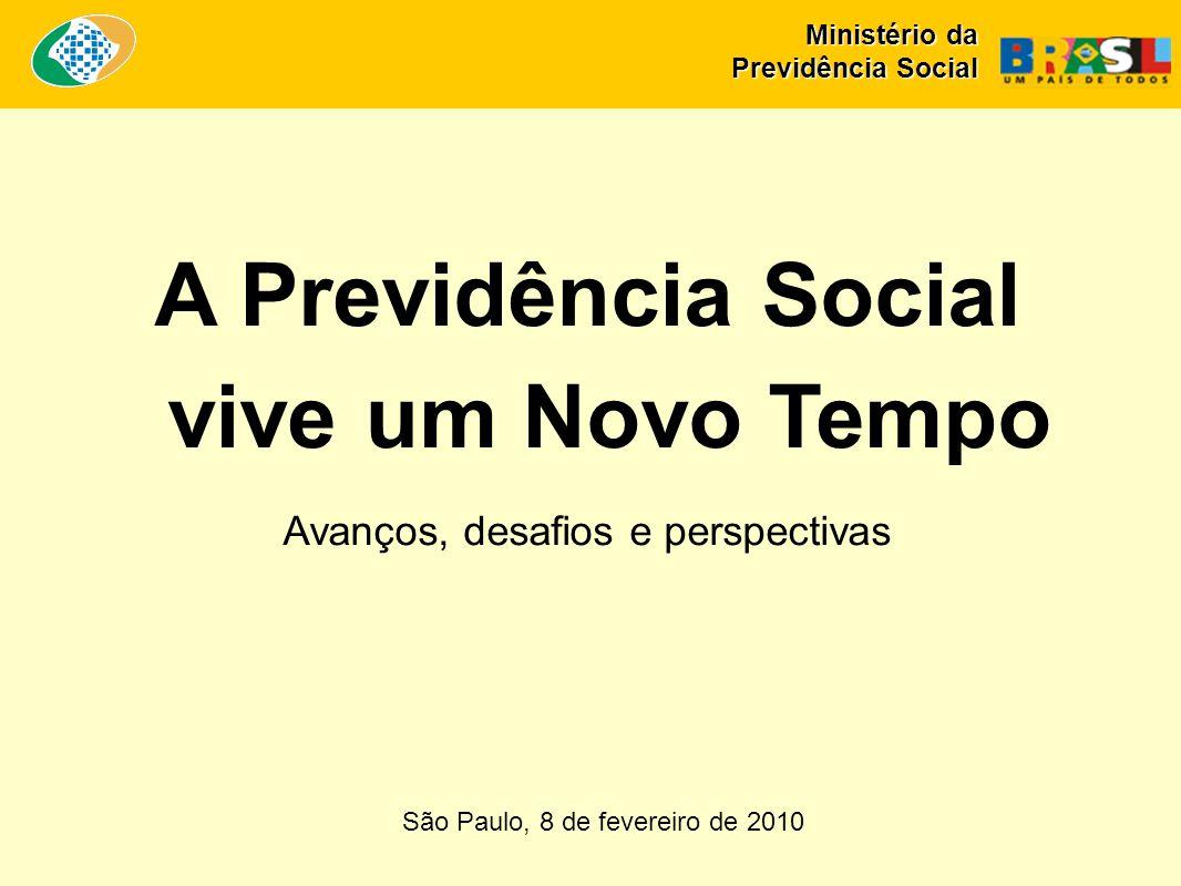 São Paulo, 8 de fevereiro de 2010 A Previdência Social vive um Novo Tempo Avanços, desafios e perspectivas Ministério da Previdência Social