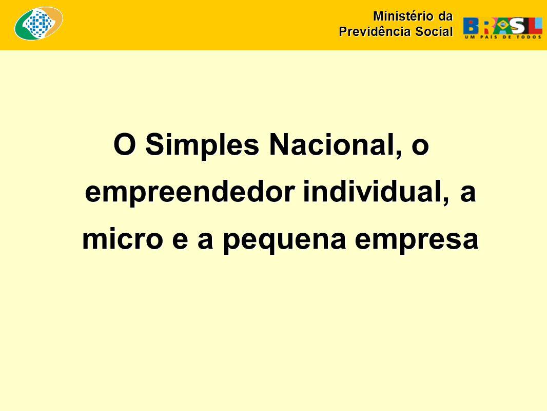 O Simples Nacional, o empreendedor individual, a micro e a pequena empresa Ministério da Previdência Social