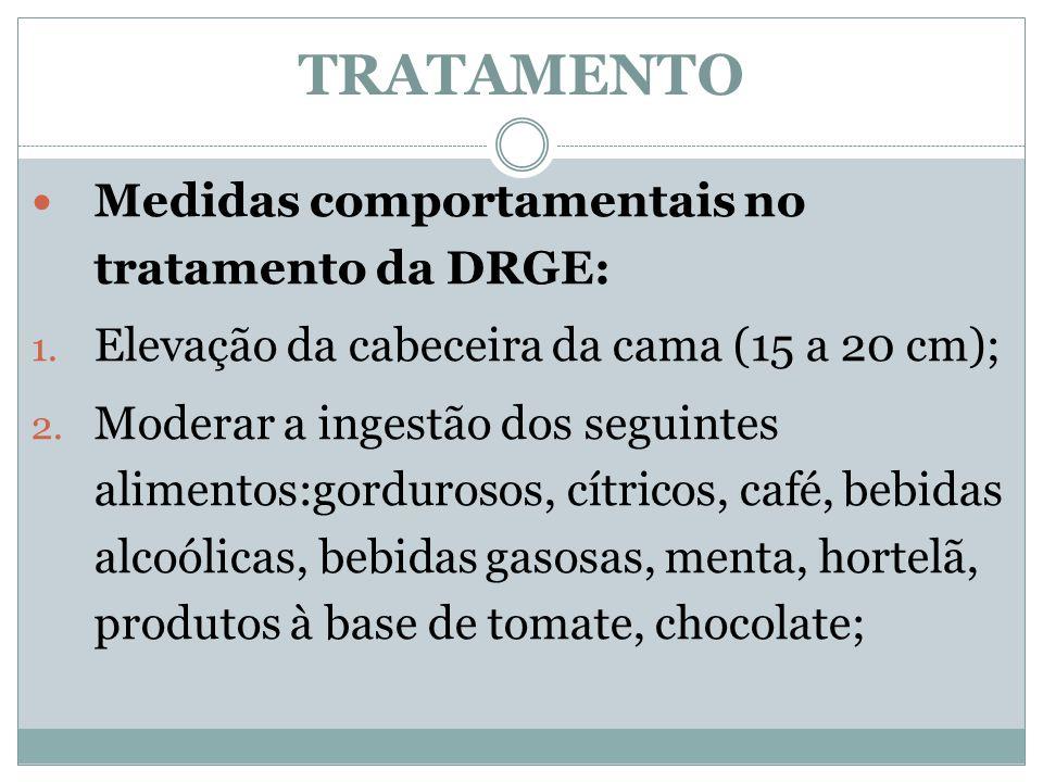 TRATAMENTO Medidas comportamentais no tratamento da DRGE: 1. Elevação da cabeceira da cama (15 a 20 cm); 2. Moderar a ingestão dos seguintes alimentos