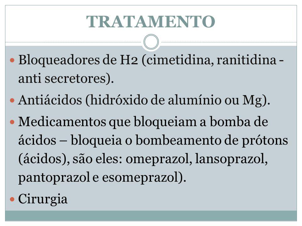 Bloqueadores de H2 (cimetidina, ranitidina - anti secretores). Antiácidos (hidróxido de alumínio ou Mg). Medicamentos que bloqueiam a bomba de ácidos