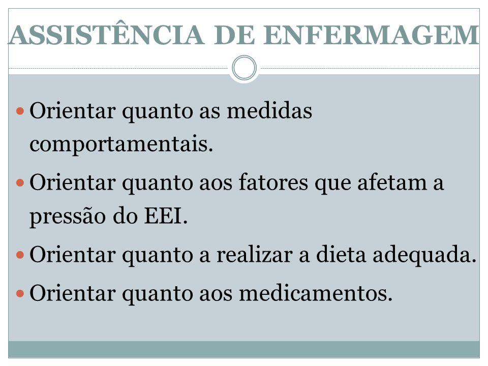 ASSISTÊNCIA DE ENFERMAGEM Orientar quanto as medidas comportamentais.