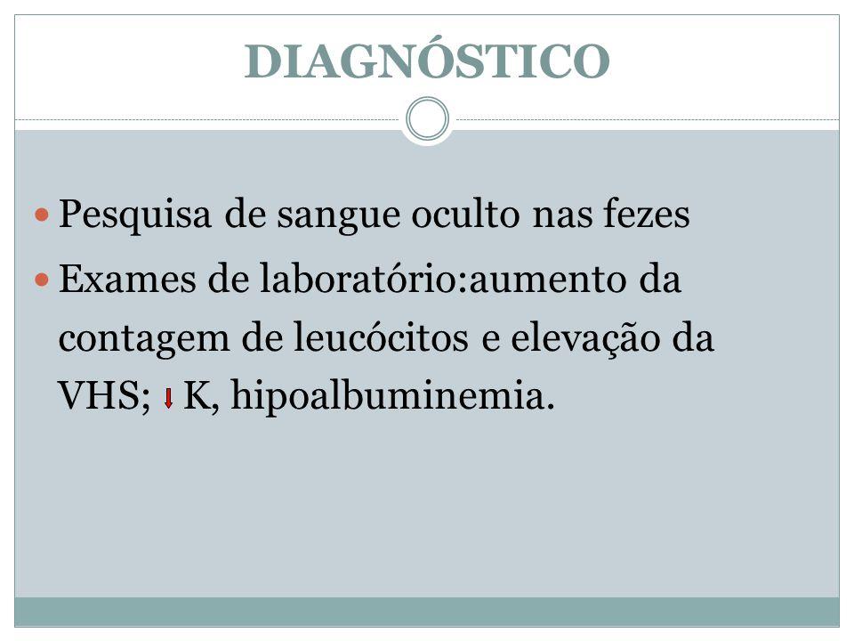 Pesquisa de sangue oculto nas fezes Exames de laboratório:aumento da contagem de leucócitos e elevação da VHS; K, hipoalbuminemia. DIAGNÓSTICO