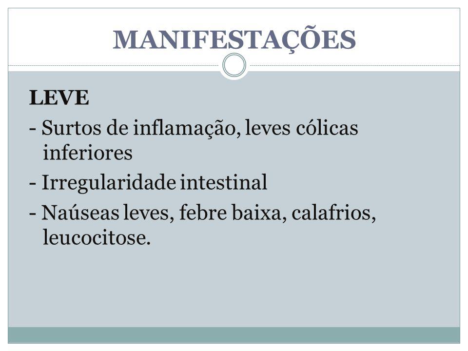 MANIFESTAÇÕES LEVE - Surtos de inflamação, leves cólicas inferiores - Irregularidade intestinal - Naúseas leves, febre baixa, calafrios, leucocitose.
