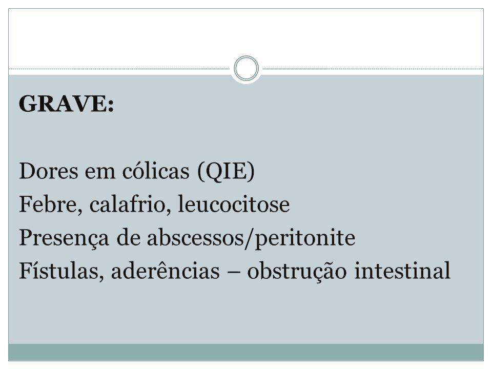 GRAVE: Dores em cólicas (QIE) Febre, calafrio, leucocitose Presença de abscessos/peritonite Fístulas, aderências – obstrução intestinal