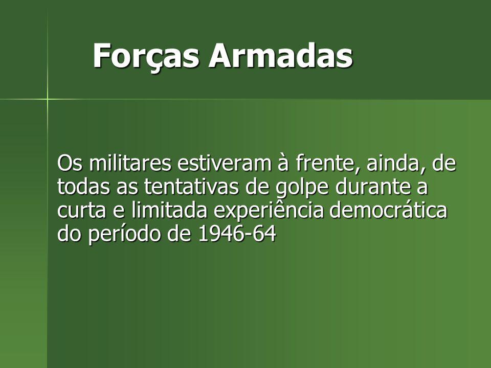 Forças Armadas Os militares estiveram à frente, ainda, de todas as tentativas de golpe durante a curta e limitada experiência democrática do período de 1946-64