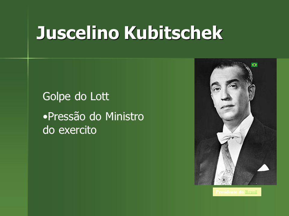 Juscelino Kubitschek Presidente do BrasilBrasil Golpe do Lott Pressão do Ministro do exercito