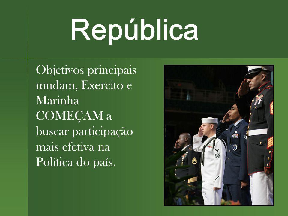 Objetivos principais mudam, Exercito e Marinha COMEÇAM a buscar participação mais efetiva na Política do país.