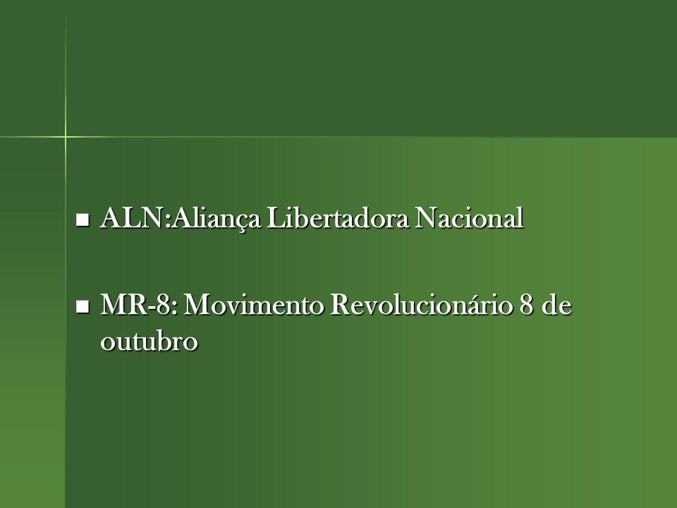 ALN:Aliança Libertadora Nacional ALN:Aliança Libertadora Nacional MR-8: Movimento Revolucionário 8 de outubro MR-8: Movimento Revolucionário 8 de outubro