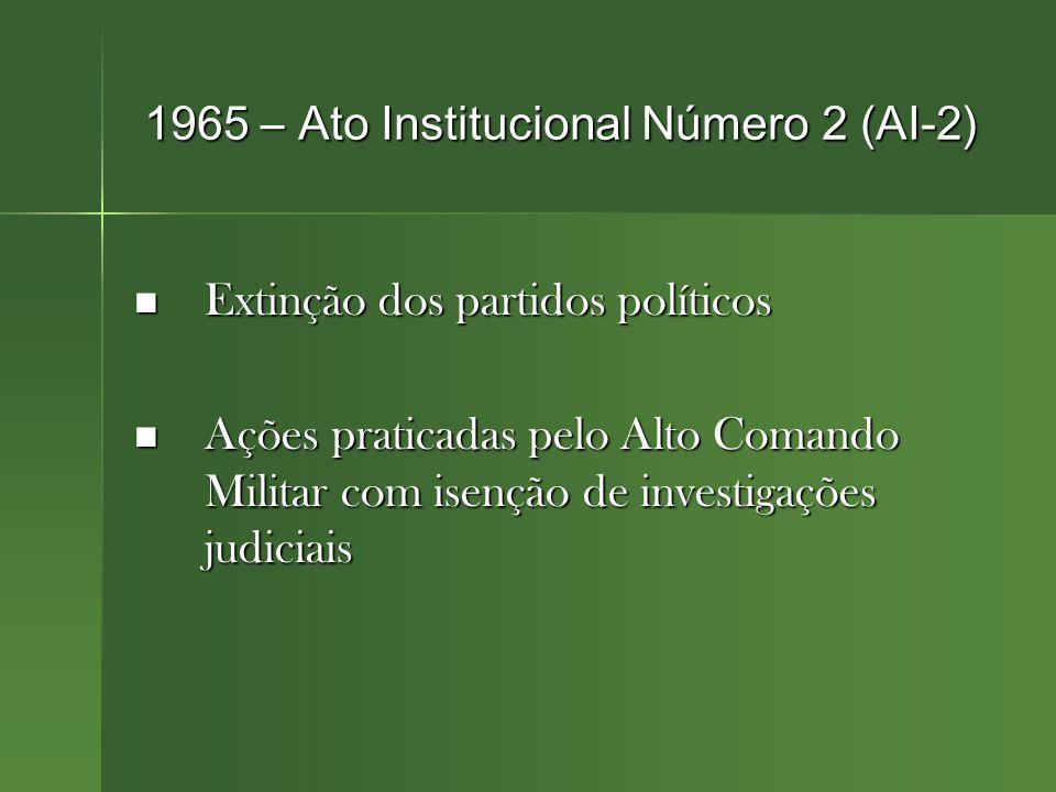 1965 – Ato Institucional Número 2 (AI-2) Extinção dos partidos políticos Extinção dos partidos políticos Ações praticadas pelo Alto Comando Militar com isenção de investigações judiciais Ações praticadas pelo Alto Comando Militar com isenção de investigações judiciais