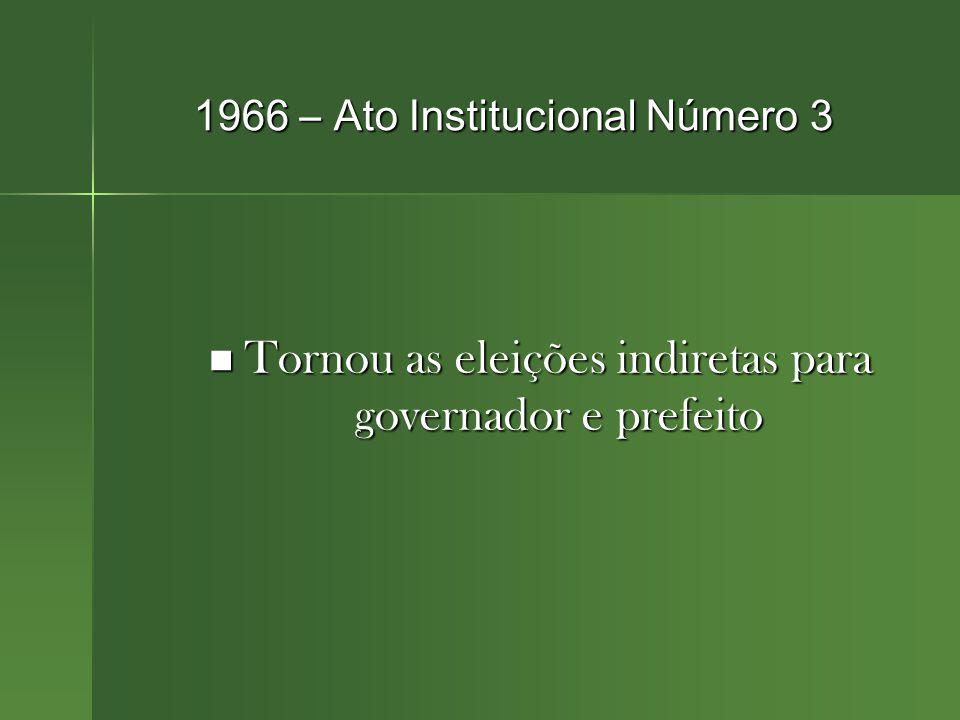 1966 – Ato Institucional Número 3 Tornou as eleições indiretas para governador e prefeito Tornou as eleições indiretas para governador e prefeito
