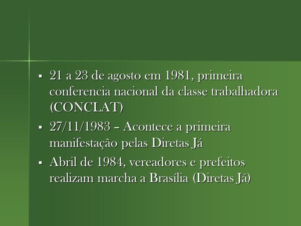  21 a 23 de agosto em 1981, primeira conferencia nacional da classe trabalhadora (CONCLAT)  27/11/1983 – Acontece a primeira manifestação pelas Diretas Já  Abril de 1984, vereadores e prefeitos realizam marcha a Brasília (Diretas Já)