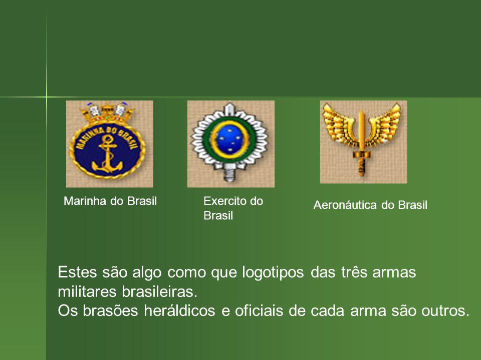 Marinha do BrasilExercito do Brasil Aeronáutica do Brasil Estes são algo como que logotipos das três armas militares brasileiras.