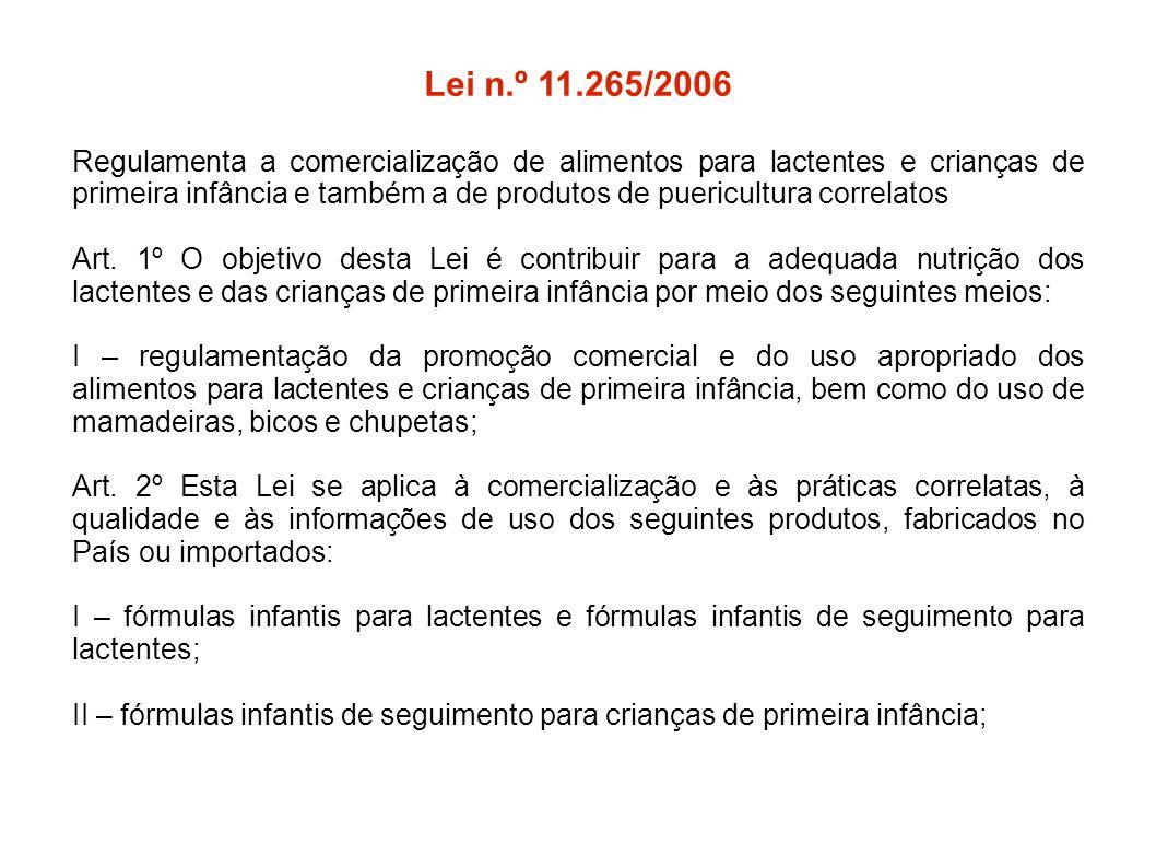 Lei n.º 11.265/2006 Regulamenta a comercialização de alimentos para lactentes e crianças de primeira infância e também a de produtos de puericultura c