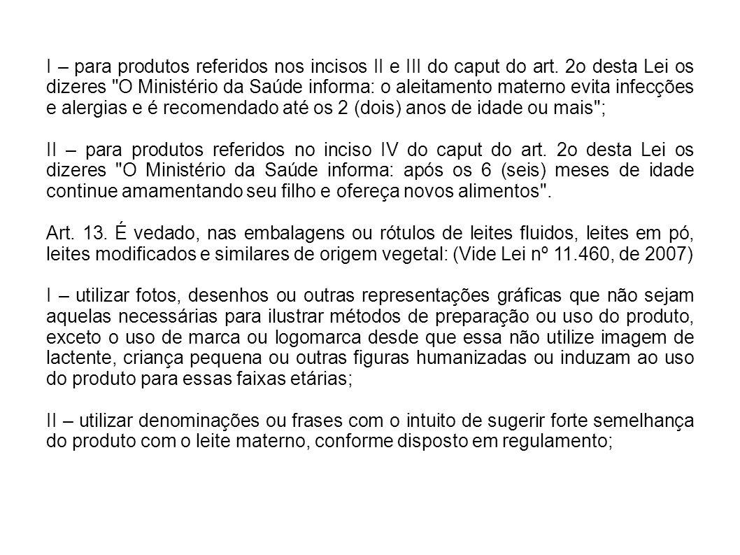 I – para produtos referidos nos incisos II e III do caput do art. 2o desta Lei os dizeres