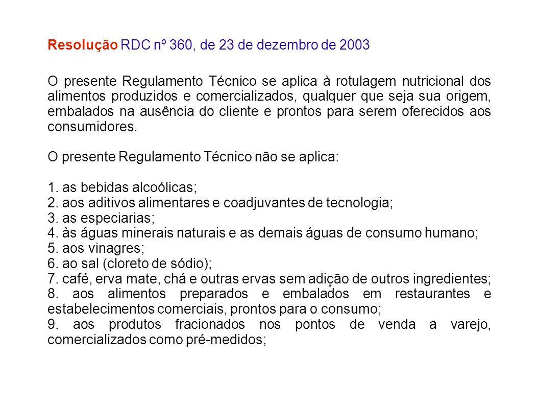 Resolução RDC nº 360, de 23 de dezembro de 2003 O presente Regulamento Técnico se aplica à rotulagem nutricional dos alimentos produzidos e comerciali
