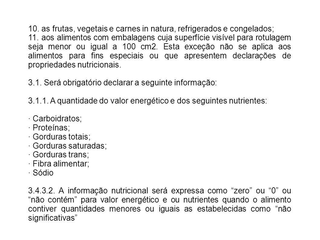10. as frutas, vegetais e carnes in natura, refrigerados e congelados; 11. aos alimentos com embalagens cuja superfície visível para rotulagem seja me