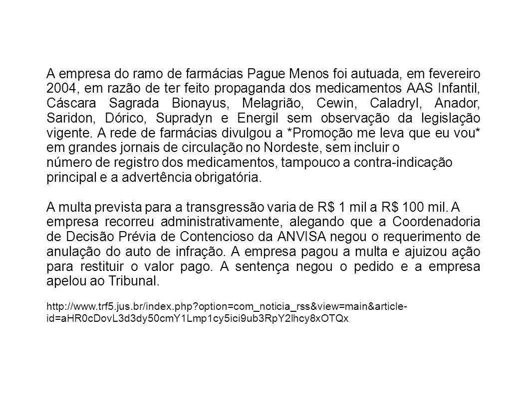 A empresa do ramo de farmácias Pague Menos foi autuada, em fevereiro 2004, em razão de ter feito propaganda dos medicamentos AAS Infantil, Cáscara Sag
