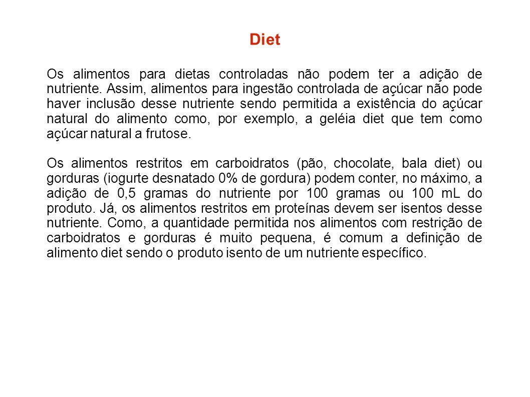 Os alimentos para dietas controladas não podem ter a adição de nutriente. Assim, alimentos para ingestão controlada de açúcar não pode haver inclusão