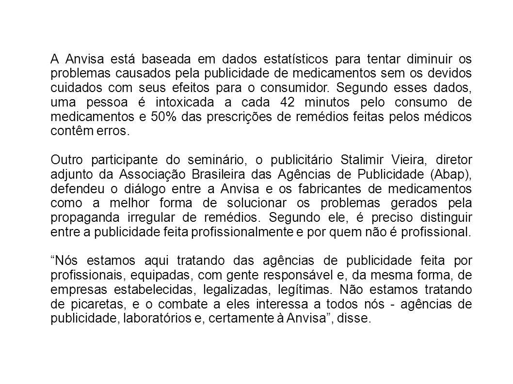 A Anvisa está baseada em dados estatísticos para tentar diminuir os problemas causados pela publicidade de medicamentos sem os devidos cuidados com se