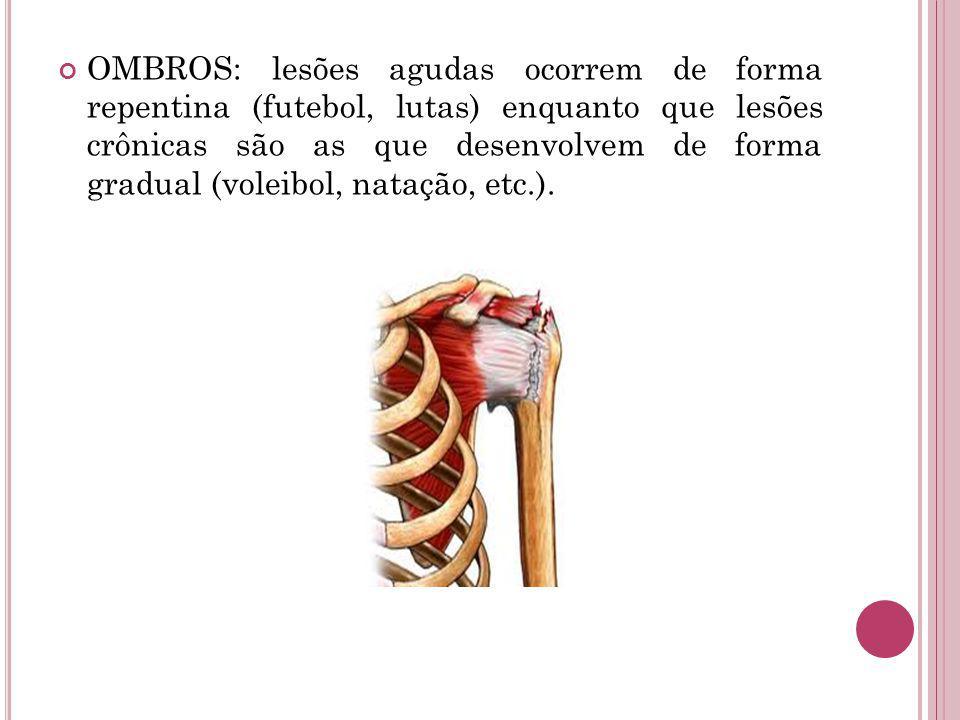 OMBROS: lesões agudas ocorrem de forma repentina (futebol, lutas) enquanto que lesões crônicas são as que desenvolvem de forma gradual (voleibol, natação, etc.).