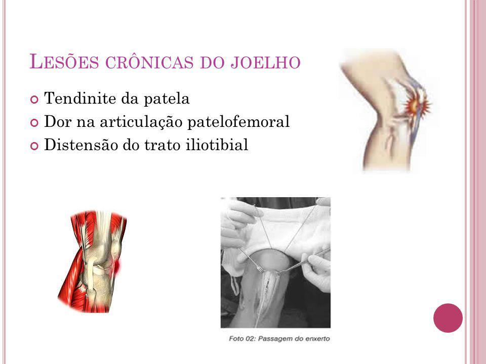 L ESÕES CRÔNICAS DO JOELHO Tendinite da patela Dor na articulação patelofemoral Distensão do trato iliotibial