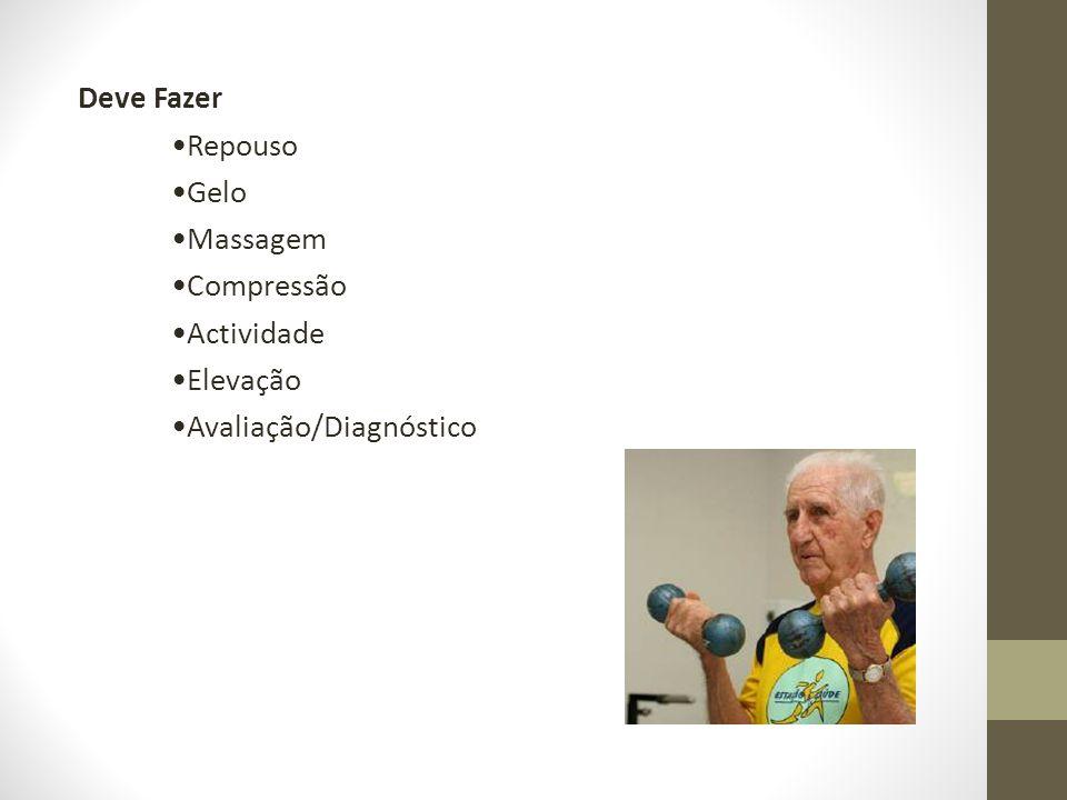 Deve Fazer Repouso Gelo Massagem Compressão Actividade Elevação Avaliação/Diagnóstico