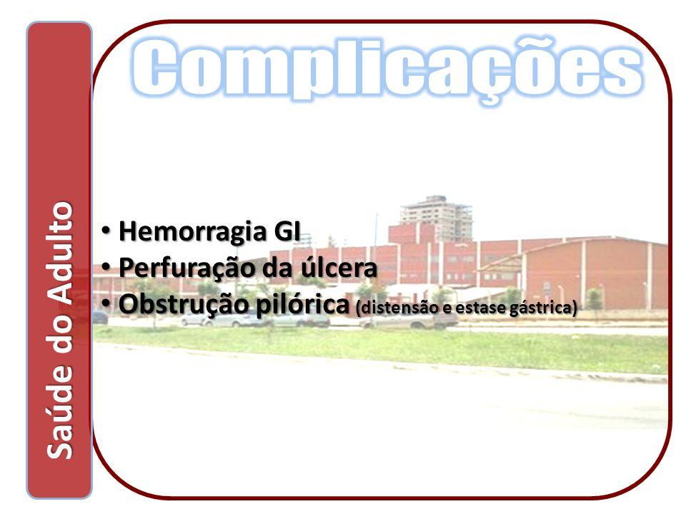 Saúde do Adulto Saúde do Adulto Hemorragia GI Hemorragia GI Perfuração da úlcera Perfuração da úlcera Obstrução pilórica (distensão e estase gástrica)