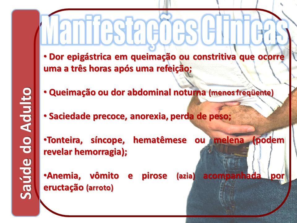 Saúde do Adulto Saúde do Adulto Dor epigástrica em queimação ou constritiva que ocorre uma a três horas após uma refeição; Dor epigástrica em queimaçã