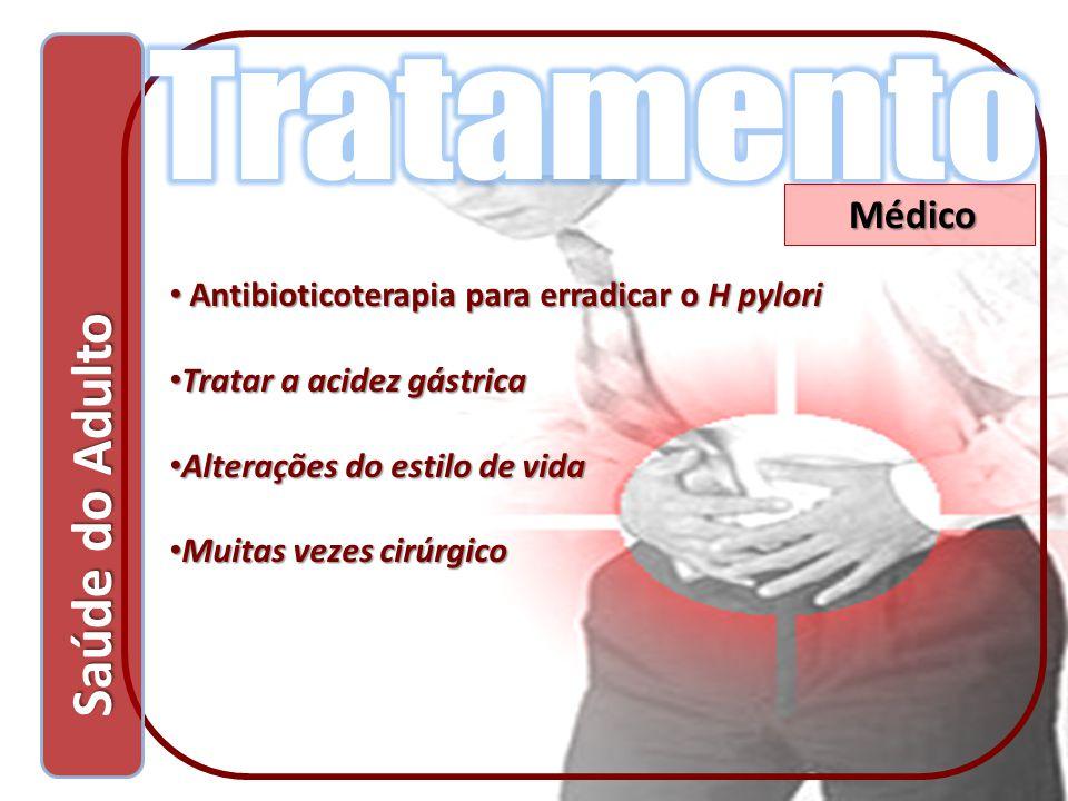 Saúde do Adulto Saúde do Adulto Médico Antibioticoterapia para erradicar o H pylori Antibioticoterapia para erradicar o H pylori Tratar a acidez gástr
