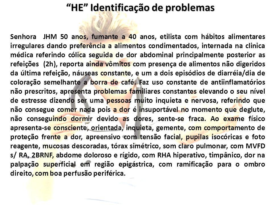 """""""HE"""" Identificação de problemas Senhora JHM 50 anos, fumante a 40 anos, etilista com hábitos alimentares irregulares dando preferência a alimentos con"""