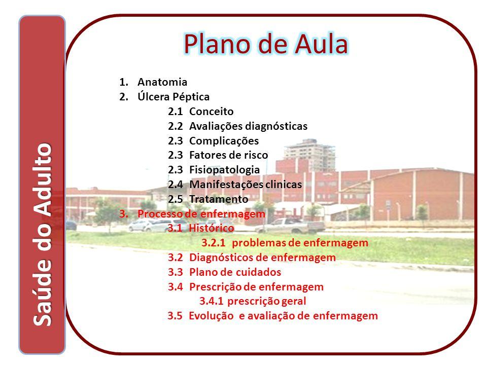 Saúde do Adulto Saúde do Adulto 1.Anatomia 2.Úlcera Péptica 2.1 Conceito 2.2 Avaliações diagnósticas 2.3 Complicações 2.3 Fatores de risco 2.3 Fisiopa