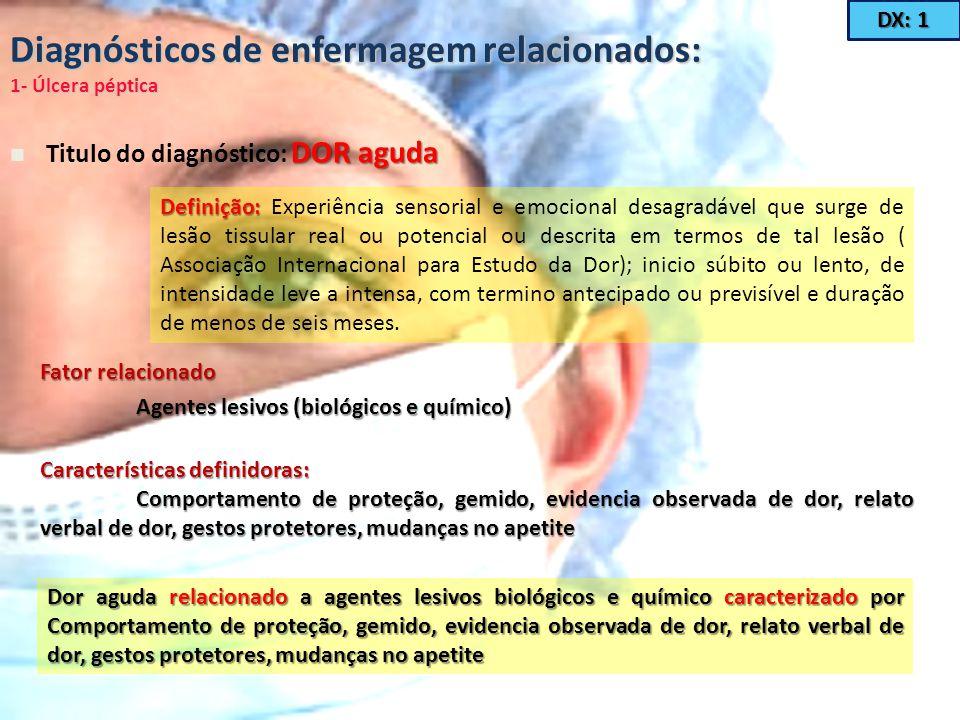 Diagnósticos de enfermagem relacionados: 1- Úlcera péptica DOR aguda Titulo do diagnóstico: DOR aguda Definição: Definição: Experiência sensorial e em