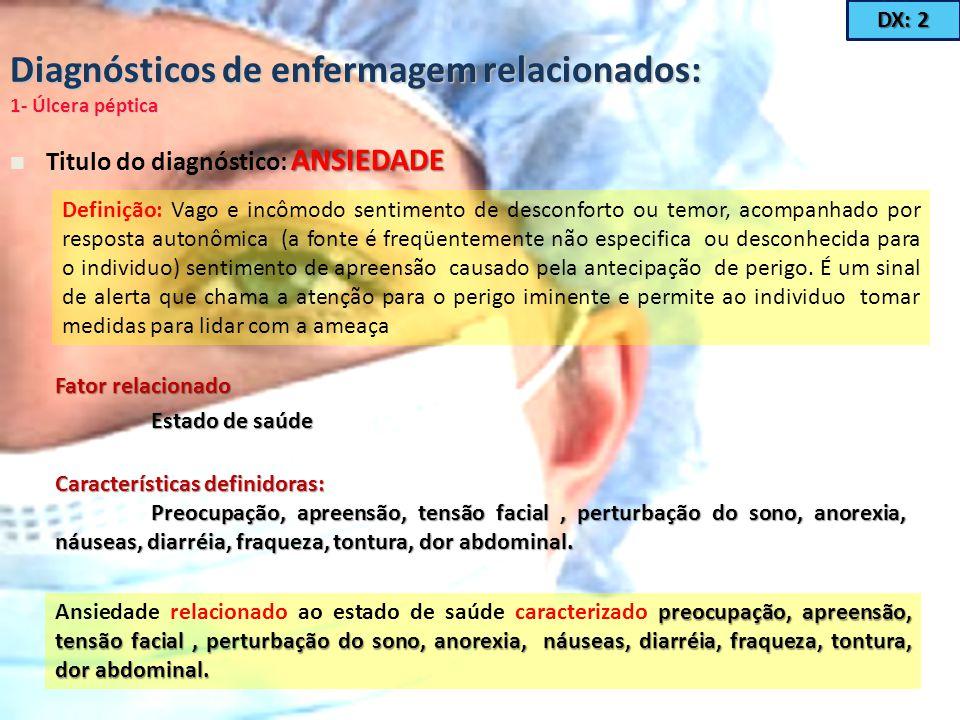 Diagnósticos de enfermagem relacionados: 1- Úlcera péptica ANSIEDADE Titulo do diagnóstico: ANSIEDADE Definição: Vago e incômodo sentimento de desconf