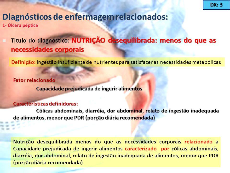 Diagnósticos de enfermagem relacionados: 1- Úlcera péptica NUTRIÇÃO desequilibrada: menos do que as necessidades corporais Titulo do diagnóstico: NUTR