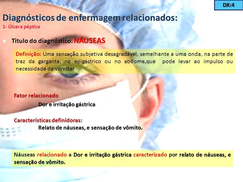 Diagnósticos de enfermagem relacionados: 1- Úlcera péptica NÁUSEAS Titulo do diagnóstico: NÁUSEAS Definição: Uma sensação subjetiva desagradável, seme