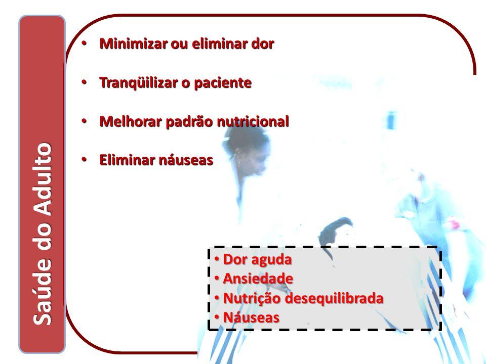 Minimizar ou eliminar dor Minimizar ou eliminar dor Tranqüilizar o paciente Tranqüilizar o paciente Melhorar padrão nutricional Melhorar padrão nutric