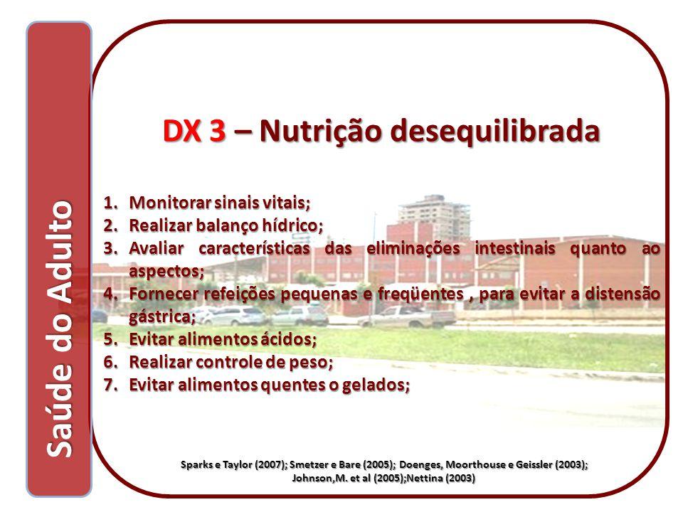 Saúde do Adulto Saúde do Adulto DX 3 – Nutrição desequilibrada 1.Monitorar sinais vitais; 2.Realizar balanço hídrico; 3.Avaliar características das el