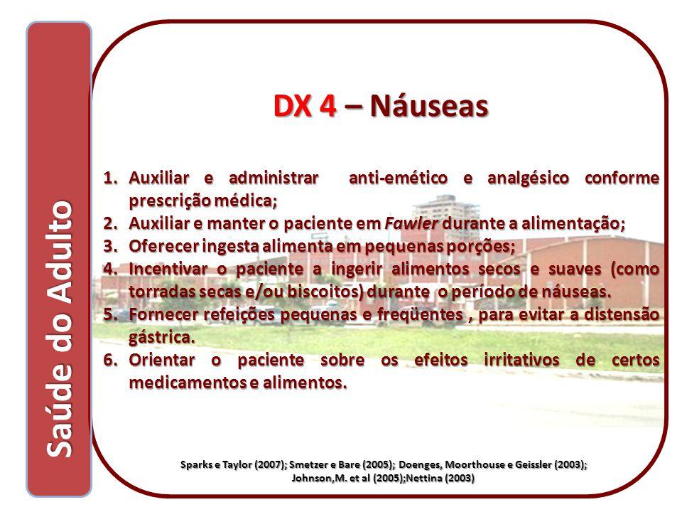 Saúde do Adulto Saúde do Adulto DX 4 – Náuseas 1.Auxiliar e administrar anti-emético e analgésico conforme prescrição médica; 2.Auxiliar e manter o pa