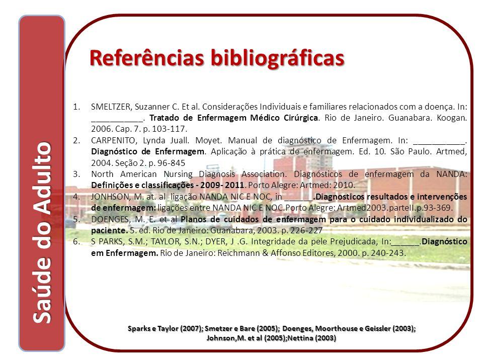 Referências bibliográficas Referências bibliográficas 1.SMELTZER, Suzanner C. Et al. Considerações Individuais e familiares relacionados com a doença.