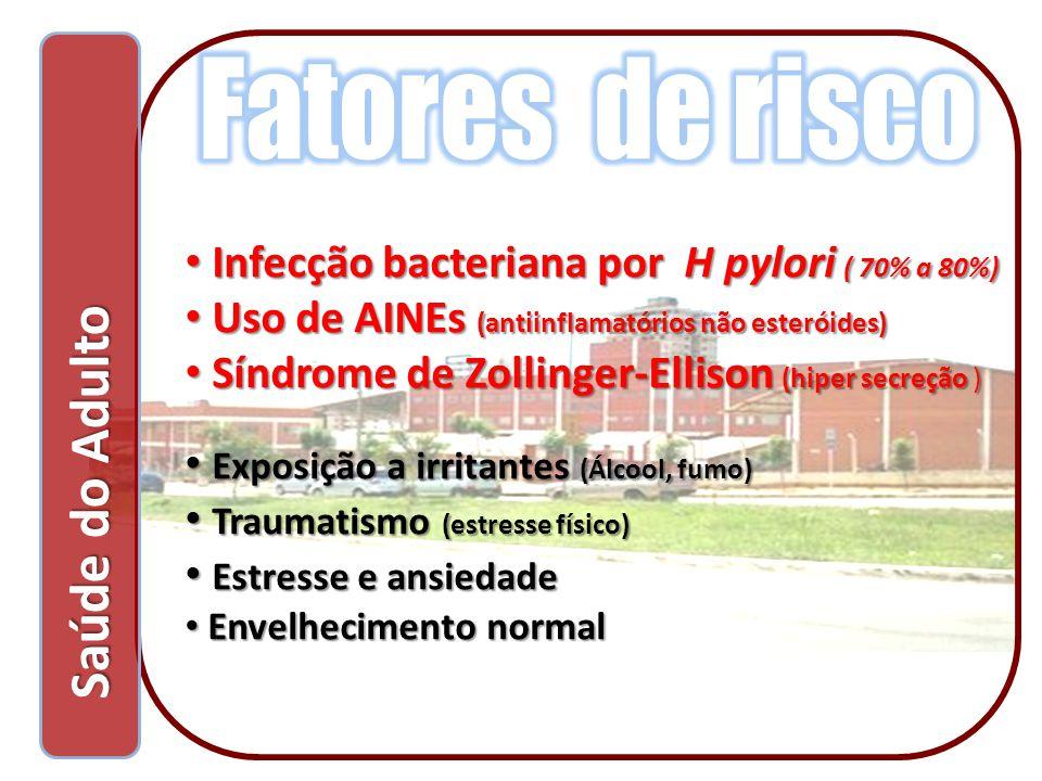 Saúde do Adulto Saúde do Adulto Infecção bacteriana por H pylori ( 70% a 80%) Infecção bacteriana por H pylori ( 70% a 80%) Uso de AINEs (antiinflamat