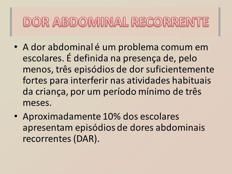A dor abdominal é um problema comum em escolares. É definida na presença de, pelo menos, três episódios de dor suficientemente fortes para interferir