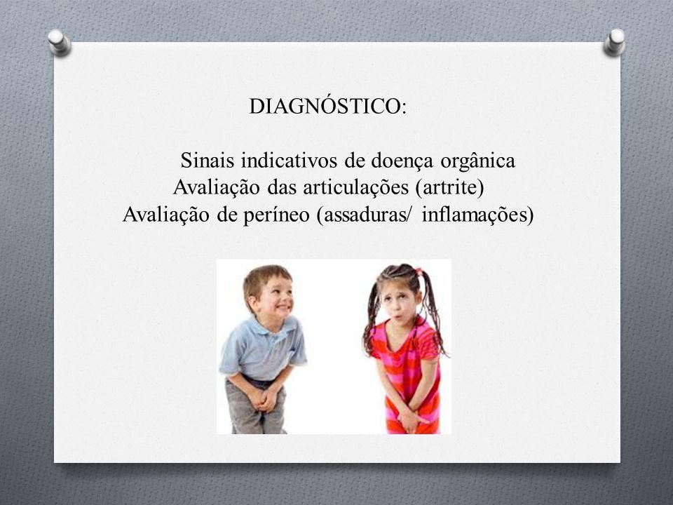 DIAGNÓSTICO: Sinais indicativos de doença orgânica Avaliação das articulações (artrite) Avaliação de períneo (assaduras/ inflamações)