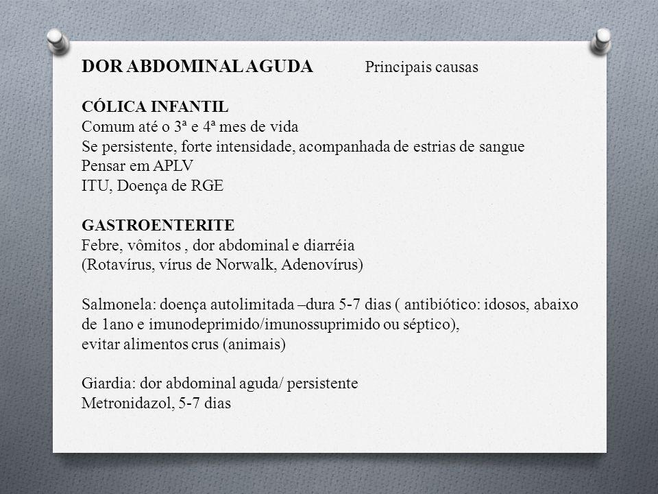DOR ABDOMINAL RECORRENTE: Sinais de Alerta na História e Exame Físico Fonte: modificado de Zuccolotto, SMC.