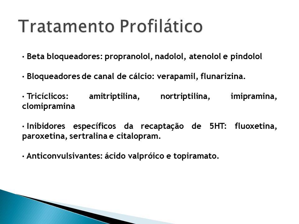 Beta bloqueadores: propranolol, nadolol, atenolol e pindolol Bloqueadores de canal de cálcio: verapamil, flunarizina.
