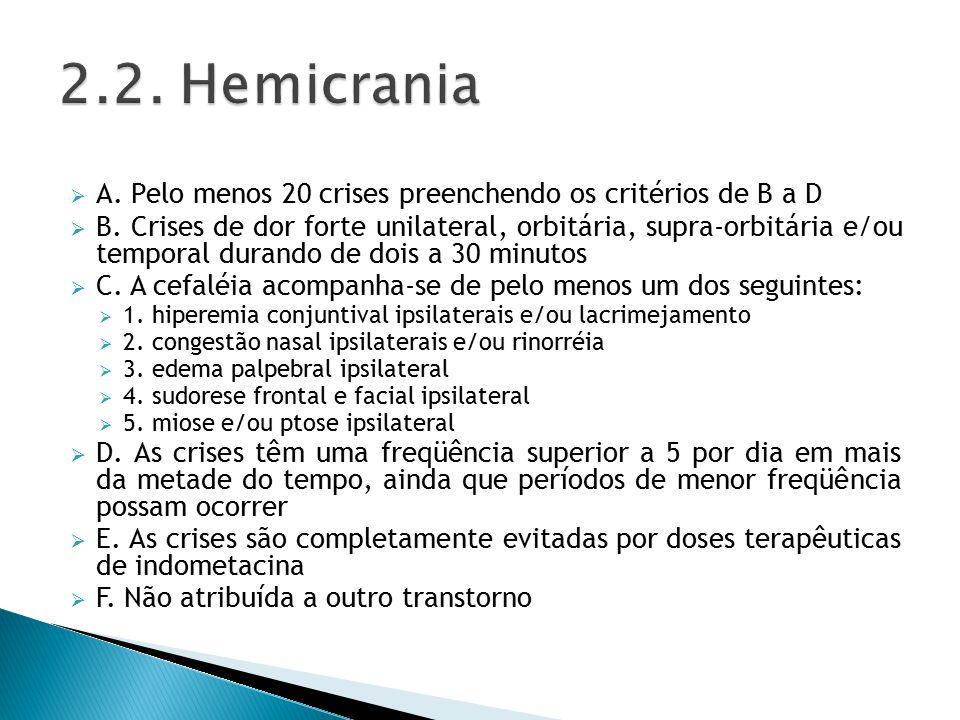  A.Pelo menos 20 crises preenchendo os critérios de B a D  B.
