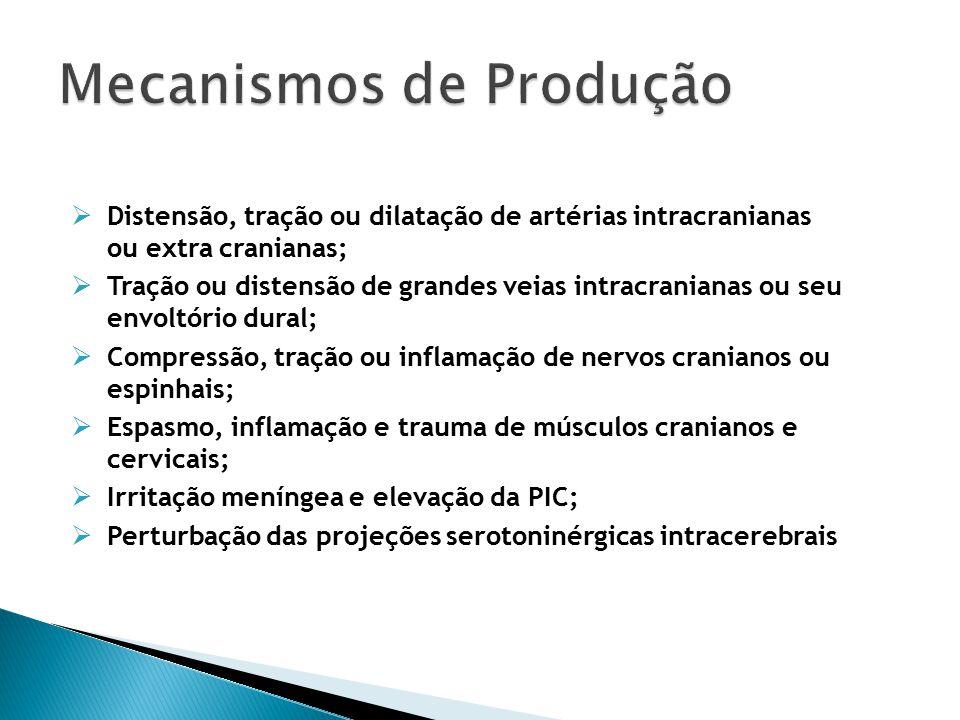 Distensão, tração ou dilatação de artérias intracranianas ou extra cranianas;  Tração ou distensão de grandes veias intracranianas ou seu envoltório dural;  Compressão, tração ou inflamação de nervos cranianos ou espinhais;  Espasmo, inflamação e trauma de músculos cranianos e cervicais;  Irritação meníngea e elevação da PIC;  Perturbação das projeções serotoninérgicas intracerebrais Mecanismos de Produção