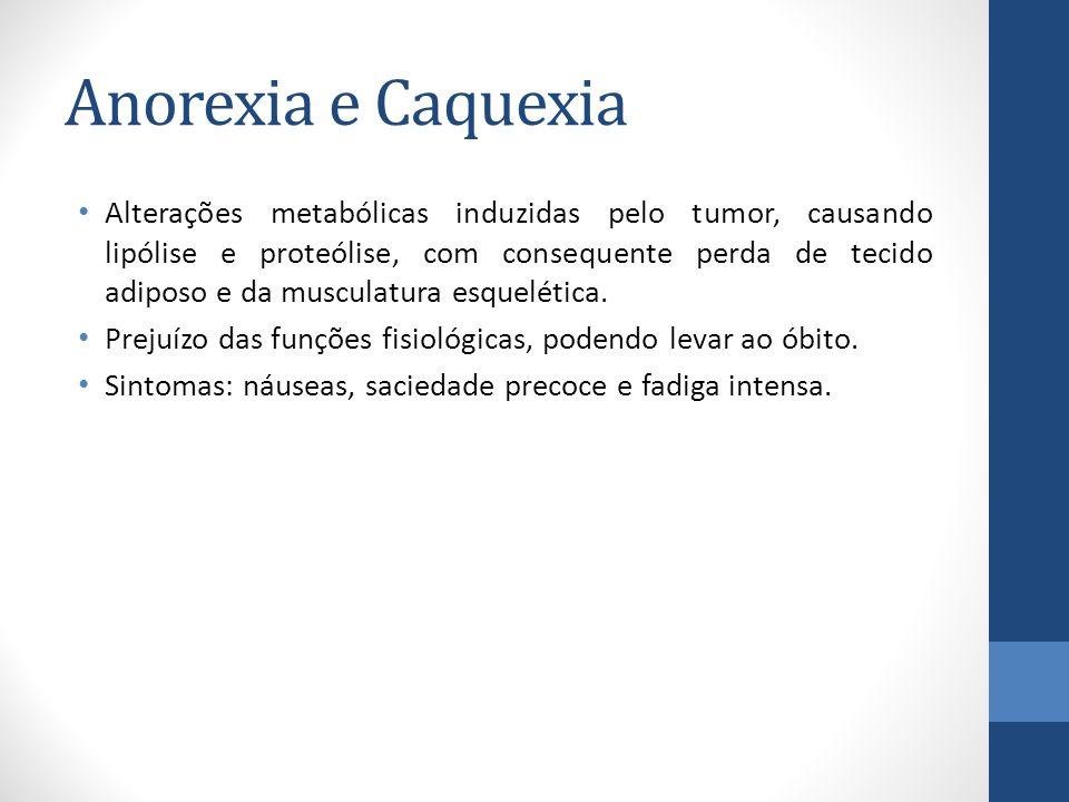 Anorexia e Caquexia Alterações metabólicas induzidas pelo tumor, causando lipólise e proteólise, com consequente perda de tecido adiposo e da musculatura esquelética.